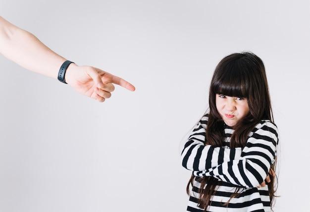 不愉快な女の子を罰する手