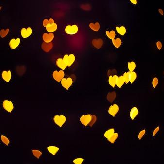 クローズアップ、輝く、黄色、ハート