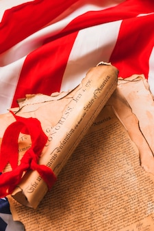Концепция дня независимости сша с объявлением по флагом