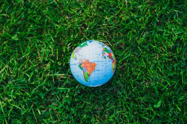 緑色の草の上の地球儀のオーバーヘッドのビュー