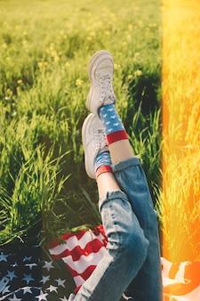 女の子、脚
