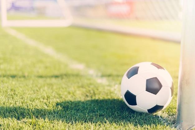 プロのゴールポストの近くのサッカーボール