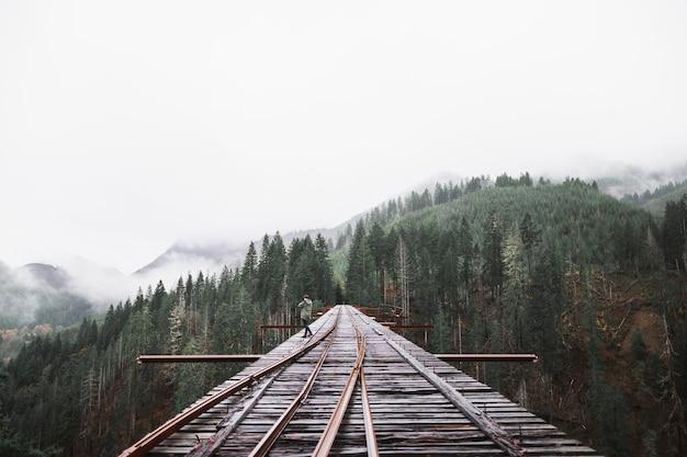 Человек на железнодорожном мосту