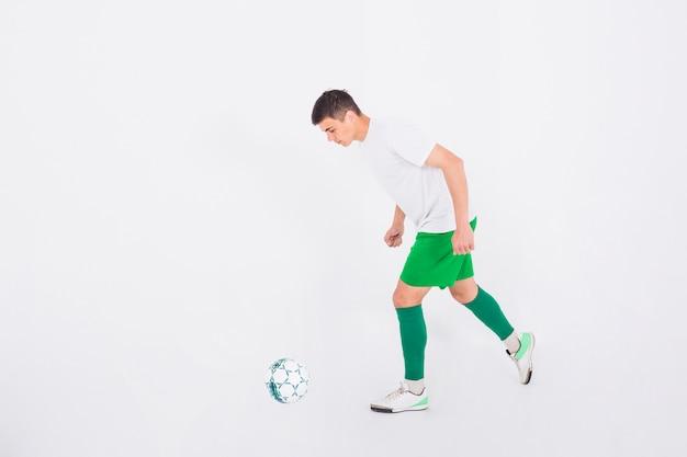 サッカー選手の撮影を約