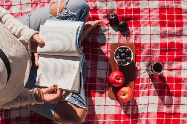 リンゴや果実の果実の近くの女の子の読書の上昇したビュー