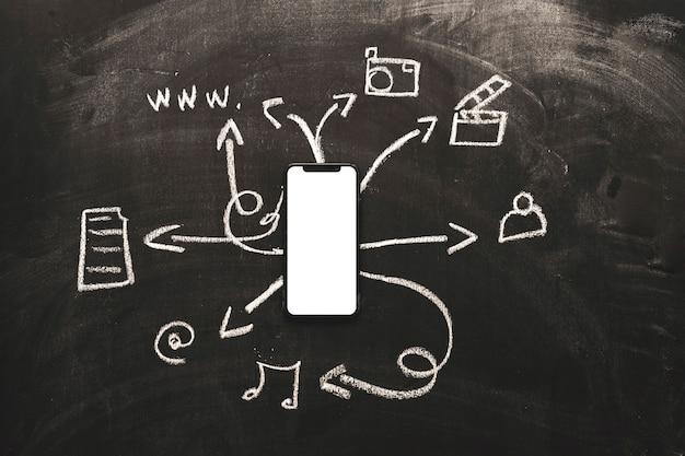 モバイルアプリケーションを黒板に表示した白い画面の携帯電話