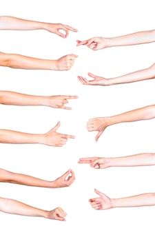 白い背景で身に着けている人間の手のコラージュ