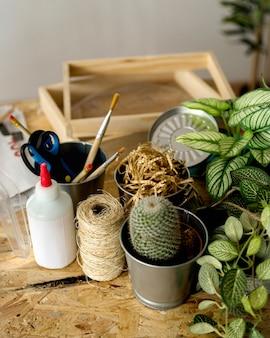 植物の文房具のクローズアップ
