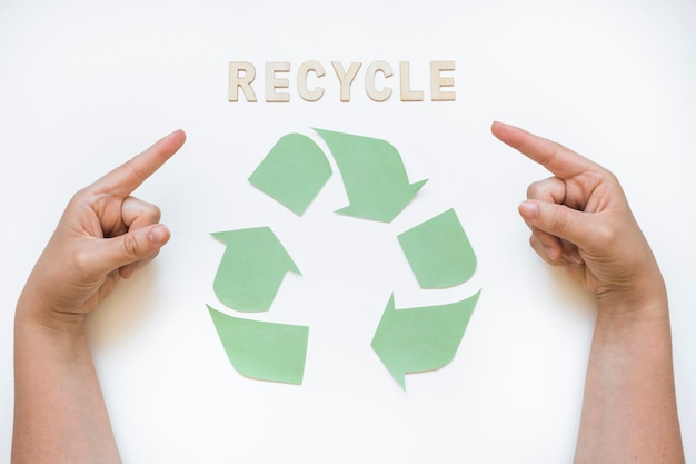 ロゴでリサイクルワードを指す手