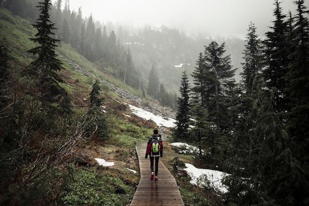 山の上を遊歩道を歩いている女性のリアビュー