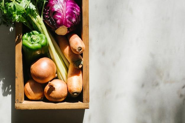 トレイ、新鮮な野菜の高い角度のビュー