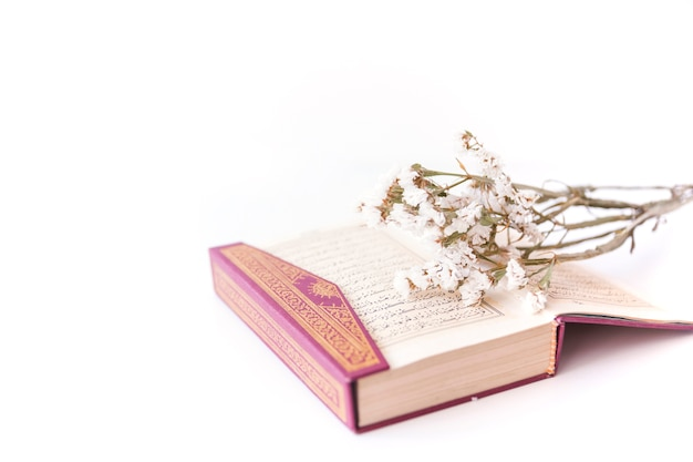 開いた本と柔らかい花