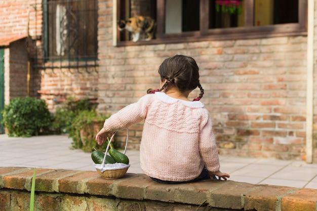 小さなバスケットでアボカドの果実を保持している壁に座っている女の子のリアビュー