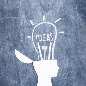 Нарисованная лампочка на открытой голове над доской
