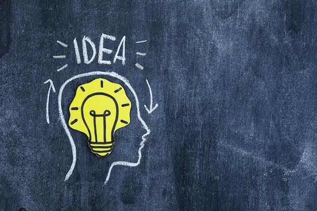 Желтая лампочка лампочки в голове, нарисованная на доске