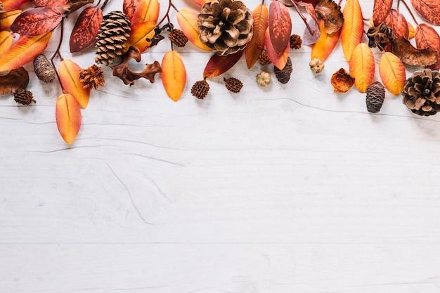 上にカラフルな葉