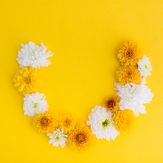 Свежая цветочная арка на желтом фоне
