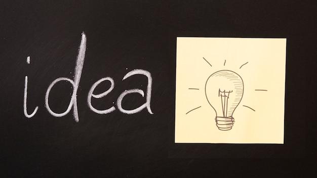 黒板に書かれたアイデアテキスト。電球が付箋に描かれています。