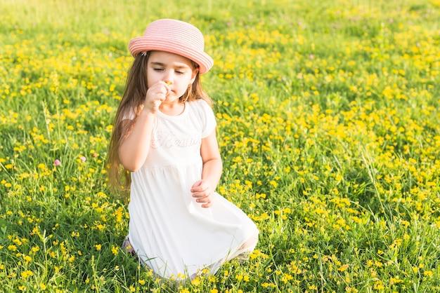 草原に座っている花の香りの女の子の肖像