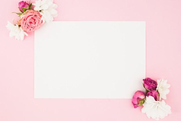 ピンクの背景に白い紙の角に美しい花
