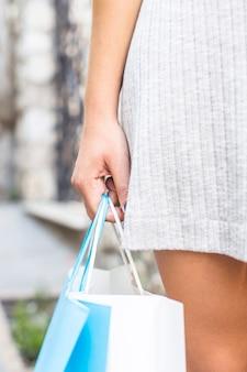 買い物袋、若い、女