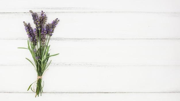 白い木の背景にラベンダーの花束