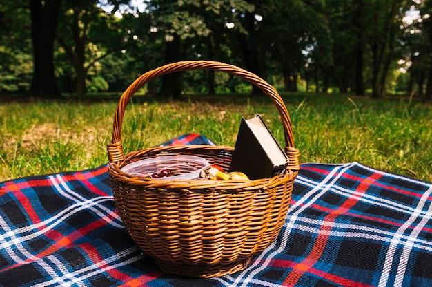 公園の緑の草の上に毛布のピクニックバスケット