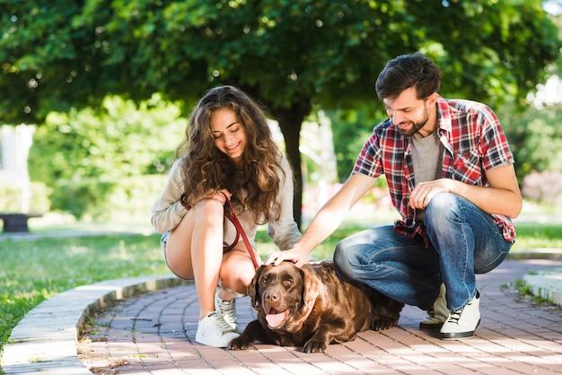 Пара поглаживает свою собаку в парке