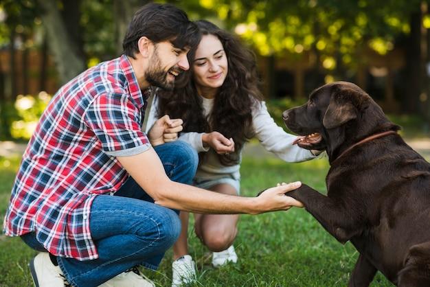Красивая пара, любящая свою собаку в парке
