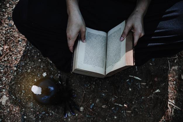 開いた本と蝋燭の森の地面にある女性