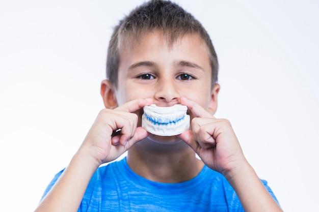白い背景に歯の石膏型を保持している少年