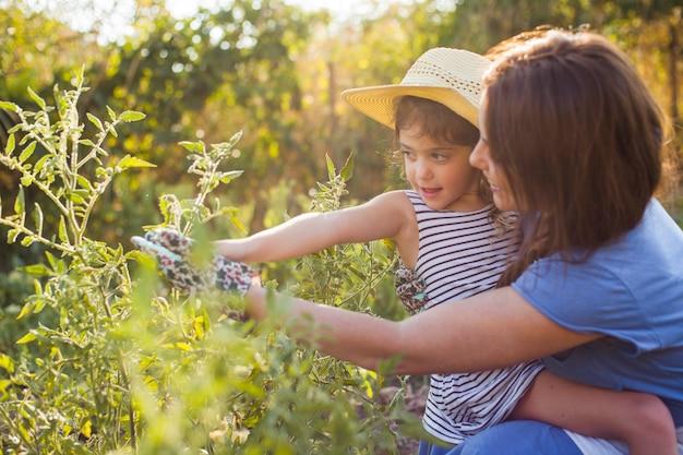 フィールドに植物を保持している彼女の娘を運ぶ母
