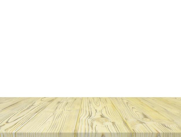 白い背景にある黄色の木製のテーブルトップ