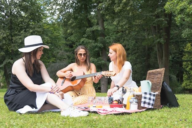 ピクニックで楽しむ女性の友達