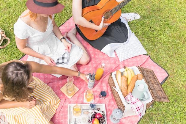 毛布に座ってピクニックで楽しむ女性の友人のグループ