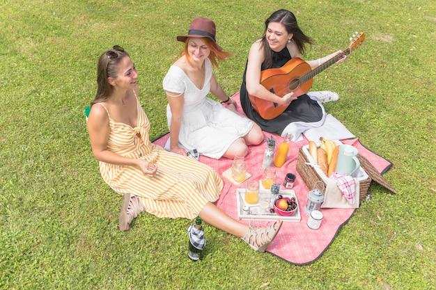 ピクニックに楽しい女性の友達を笑顔