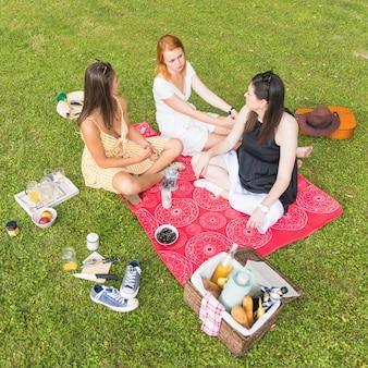 ピクニックで楽しむ毛布に座っている女性の友人のオーバーヘッドビュー