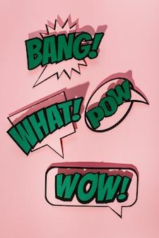 ピンクの背景に漫画の効果効果の言葉の泡