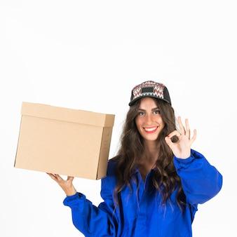 若い、配達人、箱を持つ