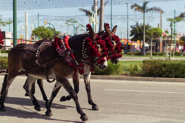 Декоративные лошади, идущие по улице