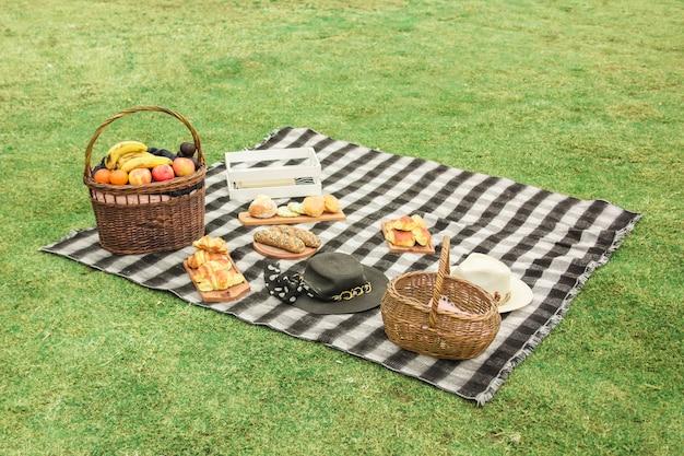 牧草地でのピクニック設定