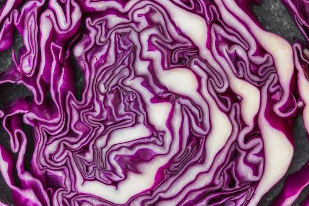 健康な紫色のキャベツのマクロショット