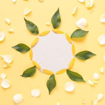 ヒマワリの花びらと葉で飾られた白いフレームの高い角度の光景