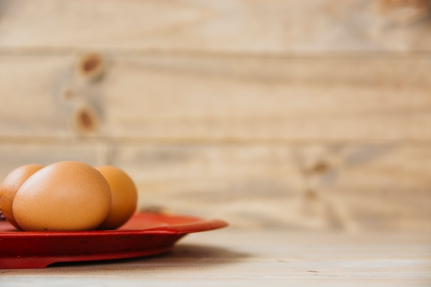 クローズアップ、茶色、卵、プレート