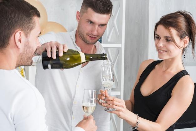 女性、保有物、ガラス、シャンパン