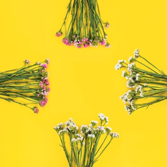 黄色の背景に配置された白とピンクの花の束