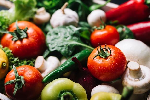 様々な有機野菜のクローズアップ