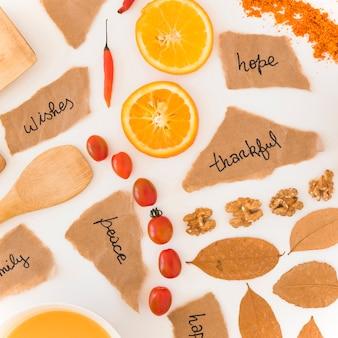 果物、メモ、葉