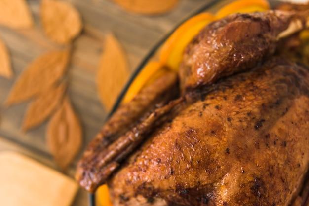 Поддержанный цыпленок возле листвы