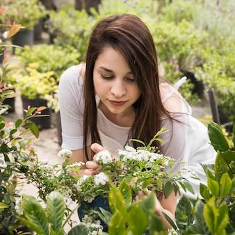 白い花を見る美しい女性の庭師のクローズアップ